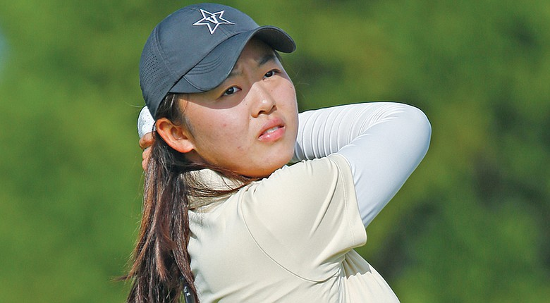 Vanderbilt's Simin Feng is tied for first through 36 holes at the SEC Championship.