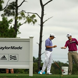 Steven DiLisio and Connor Messick prepare to tee of in the afternoon round on Saturday during AJGA's TaylorMade-Adidas Golf Junior at Innisbrook hosted by Sean O'Hair.