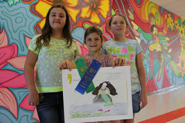 Brookshire artists Amanda Matherne, left, Hope Hallett, middle, and Lucie Duggan.