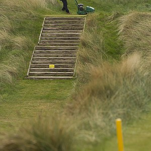 The 13th hole at Royal Liverpool in Hoylake, host of the 2014 British Open.