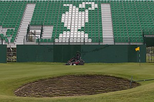 The 18th hole at Royal Liverpool in Hoylake, host of the 2014 British Open.