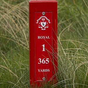 The marker at the first hole at Royal Liverpool in Hoylake, host to the 2014 British Open.