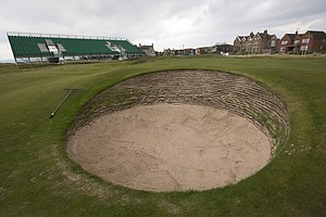 The first hole at Royal Liverpool in Hoylake, host of the 2014 British Open.