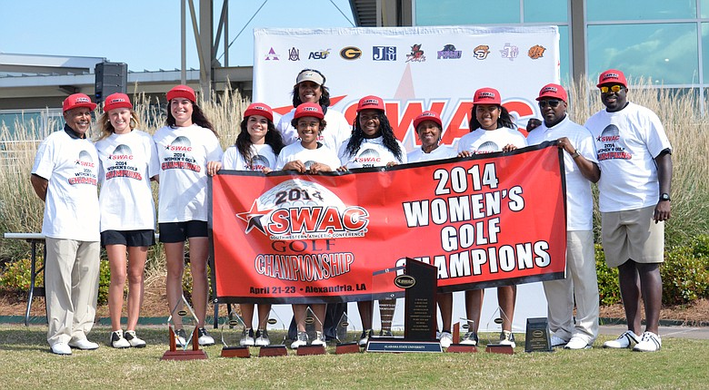 The Alabama State women's golf team poses after winning the SWAC title.