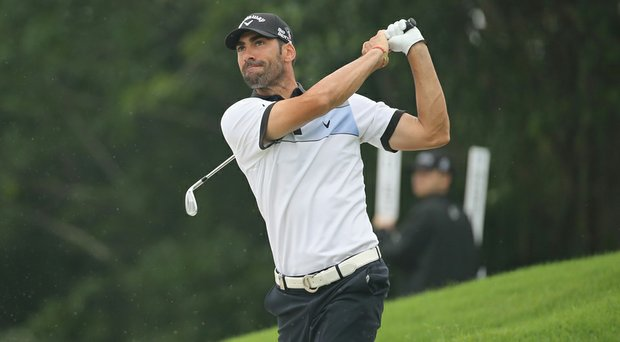 Alvaro Quiros in action during Round 1 of the Volvo China Open.