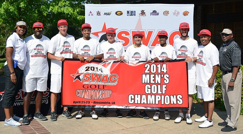 The Alabama State Hornets pose after winning the 2014 SWAC Championship.