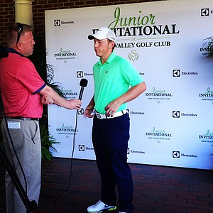 Brad Dalke, currently T-2, gets interviewed after the first round of the Junior Invitational.
