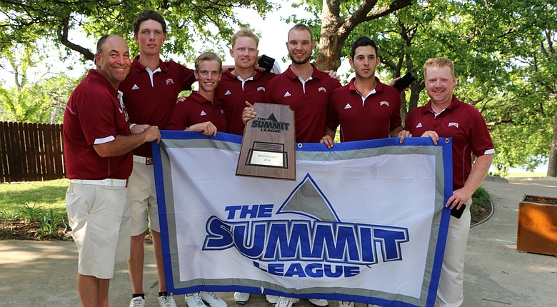 The Denver Pioneers pose with the Summit League trophy.