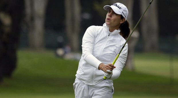 Karine Icher took a two-stroke lead at the LPGA's Swinging Skirts on Thursday at Lake Merced in Daly City, Calif.