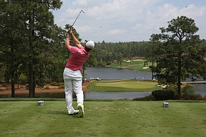 Brad Dalke during the second round of the Junior Invitational at Sage Valley Golf Club in Graniteville, S.C.