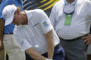 Ernie Els during Friday's second round of the PGA Tour's 2014 Zurich Classic of New Orleans.