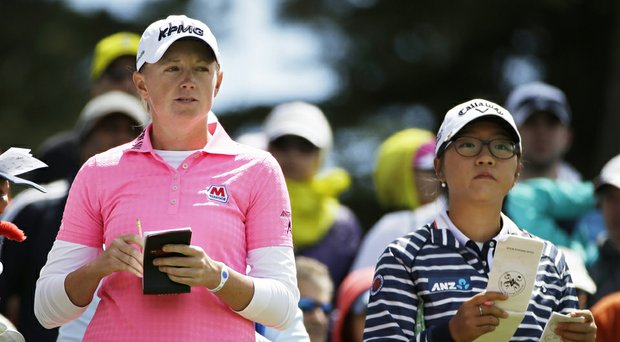 Stacy Lewis, left, and Lydia Ko during the third round of the 2014 Swinging Skirts LPGA Classic.