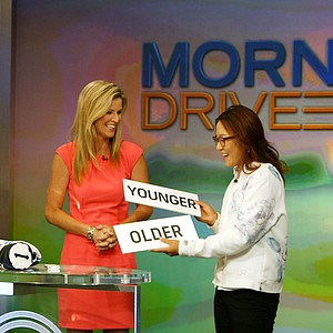 "The Morning Drive crew from left, Damon Hack and Kelly Tilghman, center, play a game of ""Younger or Older"" with Lydia Ko at Golf Channel studios on Wednesday."
