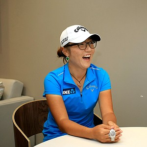 Lydia Ko in the green room during a break at Golf Channel for Morning Drive and other appearances.