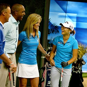 Lydia Ko, far right, with the Morning Drive crew, from left, Chris DiMarco, Damon Hack and Kelly Tilghman, at Golf Channel studios in Orlando.