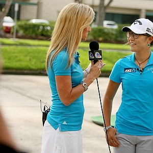 Lydia Ko with Kelly Tilghman at Golf Channel for Morning Drive and other appearances.