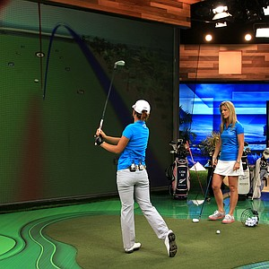 Lydia Ko with Kelly Tilghman at Golf Channel in the simulator during a spot on the Morning Drive.