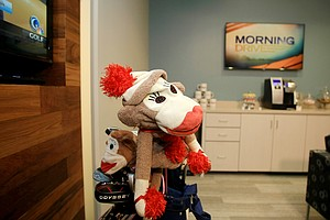 Lydia Ko's Daphne headcovers wait in the green room at Golf Channel studios.