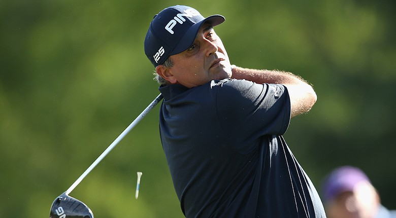 Angel Cabrera during the second round of the Wells Fargo Championship at Quail Hollow Club in Charlotte, N.C.