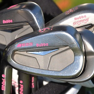 Bubba Watson's Ping S55 irons are customized in his favorite color, spotted at the PGA Tour's 2014 Players Championship at TPC Sawgrass in Ponte Vedra Beach, Fla.