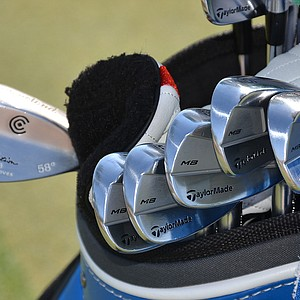 John Senden used these TaylorMade Tour Preferred MB irons to win the Valspar Championship in March, spotted on the range at TPC Sawgrass during practice for the PGA Tour's 2014 Players Championship in Ponte Vedra Beach, Fla.