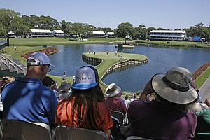 The signature 17th hole at TPC Sawgrass in Ponte Vedra Beach, Fla., leading up to this week's PGA Tour's 2014 Players Championship.