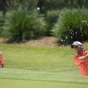 Francesco Molinari works with Dave Stockton in a bunker Tuesday at TPC Sawgrass in Ponte Vedra Beach, Fla., leading up to this week's PGA Tour's 2014 Players Championship.
