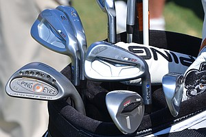 Hunter Mahan is using Ping's S55 irons, along with a Ping Eye2 XG wedge.