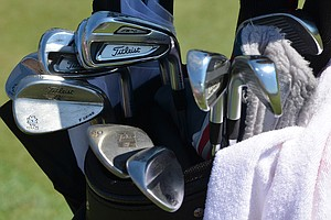 Jordan Spieth nearly won the Masters with these Titleist 714 AP2 irons, spotted during practice at TPC Sawgrass for the PGA Tour's 2014 Players Championship in Ponte Vedra Beach, Fla.