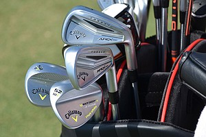 Brian Stuard shot an opening-round 67 using these Callaway Apex Pro irons and Mack Daddy 2 wedges, spotted at TPC Sawgrass during the PGA Tour's 2014 Players Championship in Ponte Vedra Beach, Fla.
