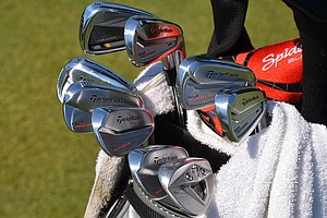 Justin Leonard, the winner of the 1998 Players Championship, damaged the cup on the first hole after jarring a shot from 147 yards out in the fairway with one of his TaylorMade Tour Preferred MB irons. He also uses Tour Preferred MC long-irons and a RocketBladez Tour 3-iron, spotted at TPC Sawgrass during the PGA Tour's 2014 Players Championship in Ponte Vedra Beach, Fla.