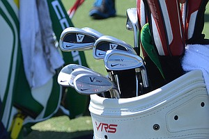 Russell Henley shot sizzling 65 on Thursday using these Nike VR Full Cavity and VR Pro Combo irons, spotted at TPC Sawgrass during the PGA Tour's 2014 Players Championship in Ponte Vedra Beach, Fla.