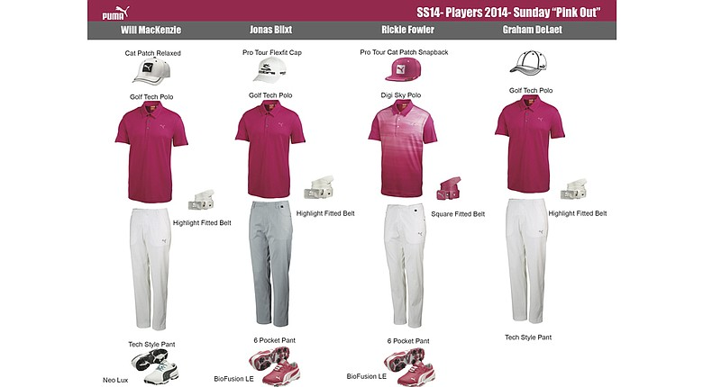 Puma Golf ambassador's pink apparel for The Players Championship on Sunday.