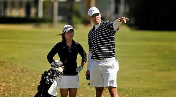 Vanderbilt's Jenny Hahn, left, won medalist honors at the NCAA Women's East Regional while coach Greg Allen led the Commodores to the team title, as well.