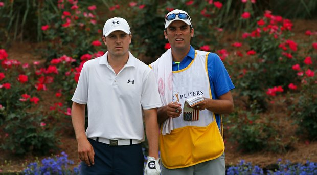 Jordan Spieth and caddie Michael Greller during the 2014 Players Championship.