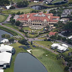 TPC Sawgrass' clubhouse and surrounding holes during Sunday's final round of the PGA Tour's 2014 Players Championship at TPC Sawgrass in Ponte Vedra Beach, Fla.