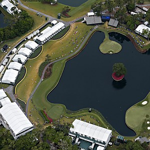 TPC Sawgrass' 17th-hole island green and its surroundings Sunday's final round of the PGA Tour's 2014 Players Championship at TPC Sawgrass in Ponte Vedra Beach, Fla.