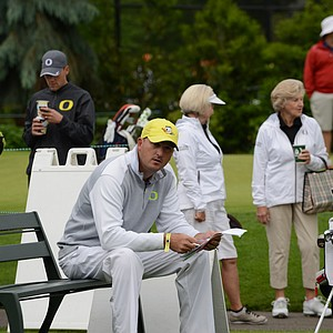 Oregon coach Casey Martin getting ready for the second round of regionals.  Oregon was in the fifth and final qualifying spot for the NCAA finals after the first day, one stroke ahead of Houston and three strokes behind North Florida.