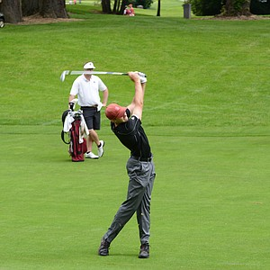 Stanford's Patrick Rodgers hitting a short iron into the par-4 eighth hole.  Rodgers drive topped 330 yards hitting one of the only draws on the front nine at Eugene Country Club.
