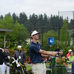 Taylor Hancock of North Florida starts off the second round of the NCAA regional at Eugene Country Club in Eugene, Oregon.