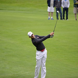 Stanford's Patrick Rodgers second shot into the par-4 first hole.