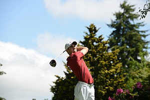 Stanford's Patrick Rodgers hitting drive on the par-4 eighth hole.