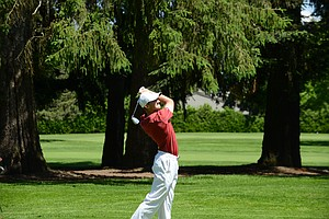 Stanford's Patrick Rodgers last iron shot of the NCAA regionals in Eugene, Ore.