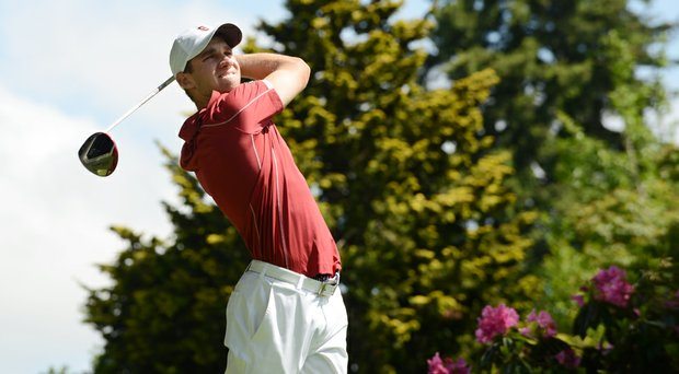 Stanford's Patrick Rodgers hits his drive on the par-4 eighth hole.