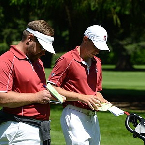 Patrick Rodgers and Stanford head coach Conrad Ray checking yardage on the 18th hole Saturday.