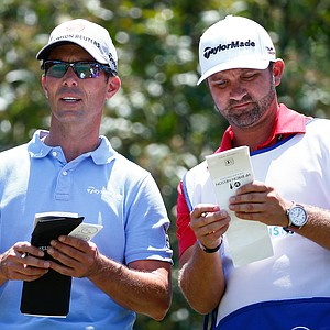 Mike Weir and his caddie during Sunday's final round of the PGA Tour's HP Byron Nelson Championship at TPC Four Seasons Resort in Irving, Texas.