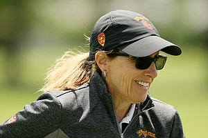 USC head coach Andrea Gaston at the Women's 2014 Golf Championships at Tulsa Country Club.