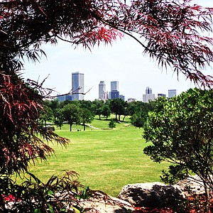 The Tulsa skyline view from Tulsa Country Club at the Women's 2014 Golf Championships at Tulsa Country Club.