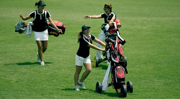 Defending champions, USC's Annie Park (left), Kyung Kim (center) and Karen Chung during a practice round at the 2014 women's NCAA Championship at Tulsa Country Club.
