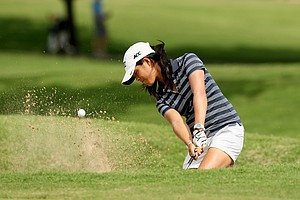 Duke's Celine Boutier hits a bunker shot at No. 5 during the first round the Women's 2014 Golf Championships at Tulsa Country Club.